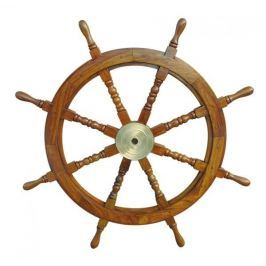 Sea-club Steering Wheel wood with brass center - o 90cm