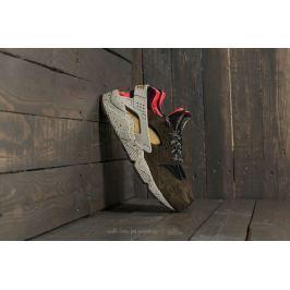 Nike Air Huarache Run Premium Black/ Desert Moss-Solar Red