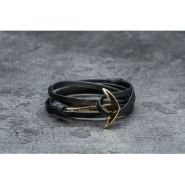 Miansai Anchor On Leather Gold/ Black