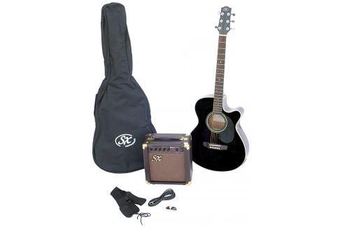 SX SA3 Electric Acoustic Kit Black Packs de guitarra electro-acústica