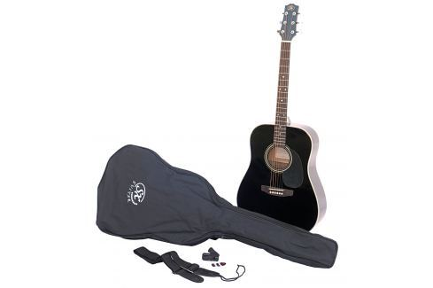 SX SA1 Acoustic Guitar Kit Black Packs de guitarra acústica